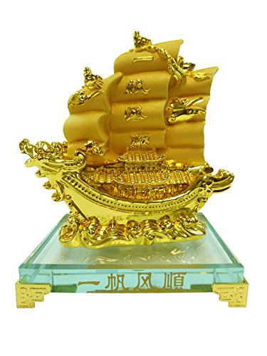 Hongville Traditional Chinese Feng Shui Decor Fortune Wealth Prosperity Decorative Statue, Gold Wealth Sailing Ship (Items Decorative Sailing)