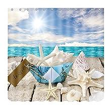 "ALFALFA Home Bathroom Decorative Polyester Fabric Ocean Beach Theme Shower Curtain With Hooks, Waterproof, Mildew Resistant 60""W x 72""H (150CM x 180CM) - Beach Seashells"