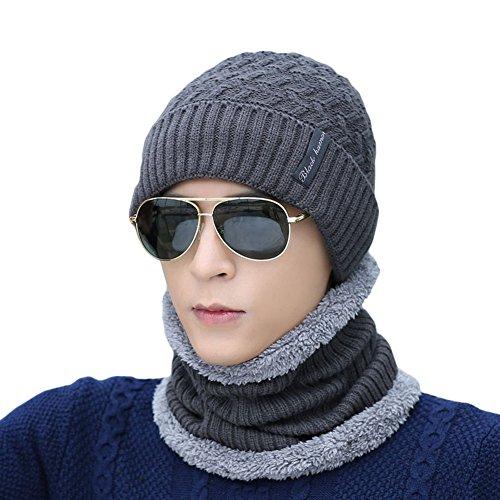 Ukallaite - Conjunto de pañuelo de Punto para Hombre, diseño de Gorro de Invierno Gris Gris M gris