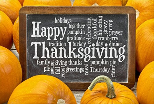 CSFOTO 8x6ft Background for Happy Thanksgiving Day Chalkboard Photography Backdrop Pumpkin Together Prayer Gratitude Autumn Tradition Festival Greeting Holiday Family Studio Props Vinyl Wallpaper -