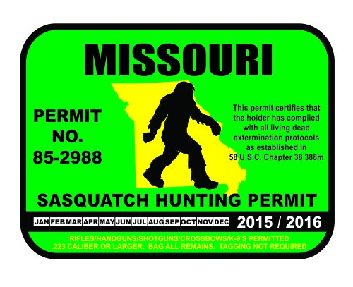 Missouri bigfoot hunting permits bigfoot gifts toys for Mo fishing license