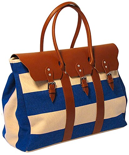 Floto Womens [Personalized Initials Embossing] Lugano Sport Duffle in Blue by Floto