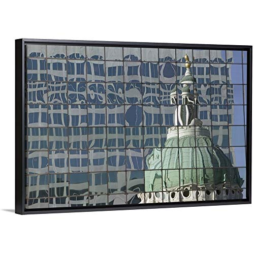 - Floating Frame Premium Canvas with Black Frame Wall Art Print Entitled Reflection of a Dome on The Glass Front of a Building, Old Courthouse, St. Louis, Missouri 30
