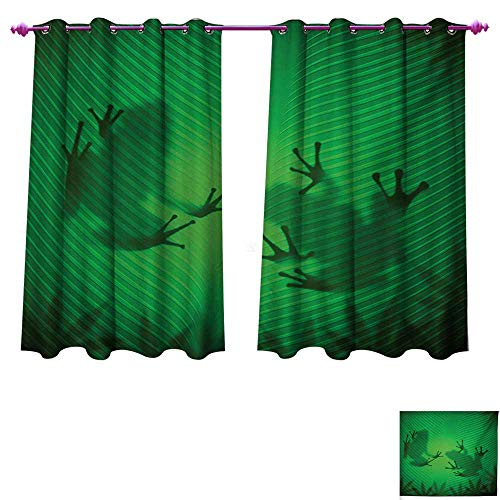 (Davishouse Animal Window Curtain Drape Frog Shadow Silhouette on The Banana Tree Leaf in Tropical Lands Jungle Games Graphic Customized Curtains W55 x L63 Green)