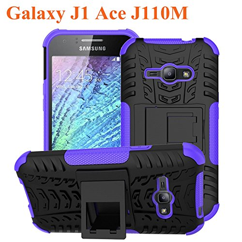 Galaxy J1 Ace Case, Asstar Shockproof Heavy Duty Combo Hybrid Rugged Dual Layer Grip Cover with Kickstand For Samsung Galaxy J1 Ace J110M J110H J110 (Purple)
