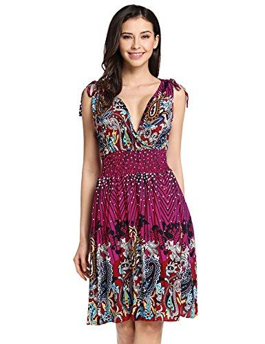 Zeagoo Women's Bohemia Deep V Neck Smocked Waist Sleeveless Summer Dress,Rose Red Floral,Large