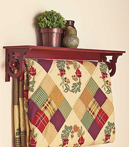 WOOD WOODEN QUILT RACK WALL MOUNT SHELF SCROLL WALNUT FINISH