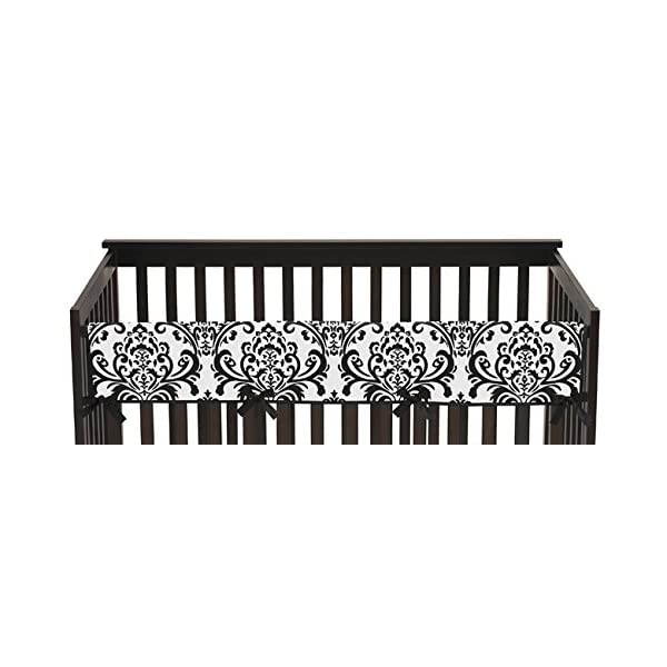 Sweet Jojo Designs Long Front Rail Guard Baby Girl Teething Cover Protector Crib Wrap for Hot Pink, Black and White Isabella Collection