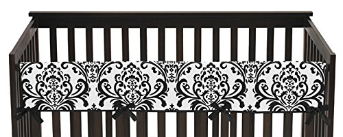 Sweet Jojo Designs Long Front Rail Guard Baby Girl Teething Cover Protector Crib Wrap for Black and White Isabella Collection (Isabella Bedding Crib Collection)