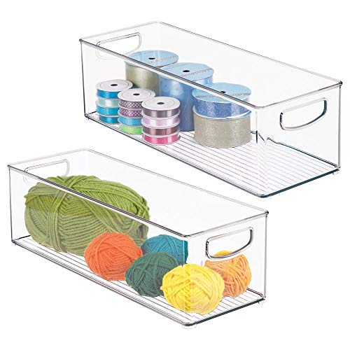 mDesign Stackable Plastic Storage Organizer Bin with Built-in Handles - for Craft, Sewing, Art, School Supplies in Home, Classroom, Playroom or Studio - 16