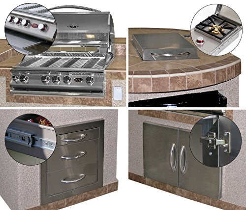 "Cal Flame 3 Piece Outdoor Kitchen Island e3022 with 4-Burner Built in Grill, 30"" Double Access Stainless Steel Door, Refrigerator with Two Tone Tile and Ameristucco Base with Under Counter Lights"