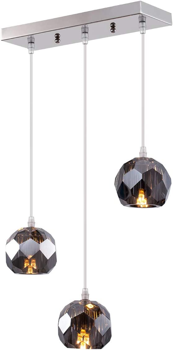 Fancy Crystal Globe Pendant Lighting, Nickel Plating Indoor Decorative Ceiling Pendant Light Fixture for Above Dinning Table Kitchen Island Living Room Bar 3-Light Smoked Grey