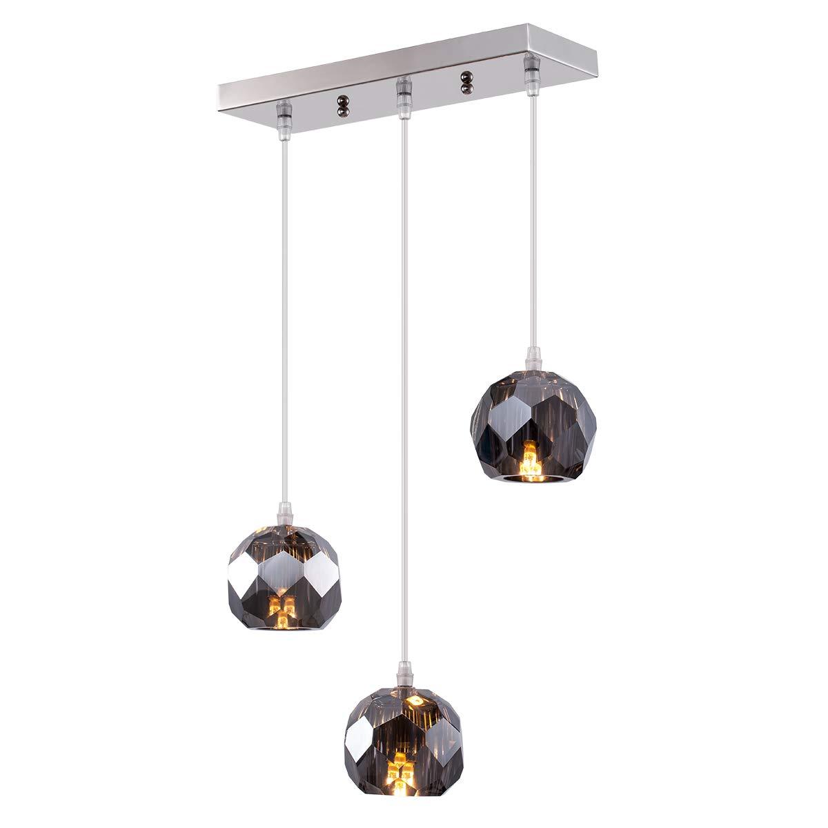 Fancy Crystal Globe Pendant Lighting, Nickel Plating Indoor Decorative Ceiling Pendant Light Fixture for Above Dinning Table Kitchen Island Living Room Bar 3-Light Smoked Grey