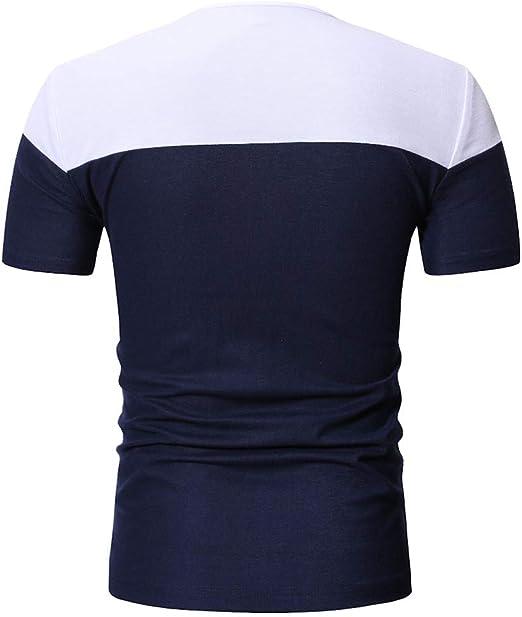 TIFIY Verano Nuevo 2019 Camiseta Slim Fit Casual Hombre Basicas Simple Cuello V Manga Corta Coincidencia de Colores Salvaje Modo Camisas Verano: Amazon.es: Ropa y accesorios
