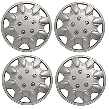 "Wing Mirrors World Nissan Micra Hatchback Coche tapacubos de plástico Cubre Titan 15 ""Plata"