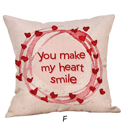 Valentine's Day Gift,Han Shi Linen Pillow Cases Home Decor Square Sofa Cushion Cover (F, L)