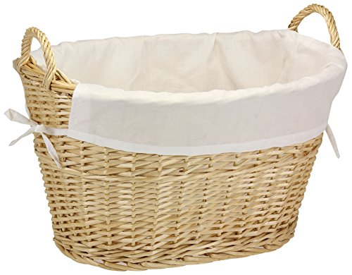 Hand Woven Oval Basket (Household Essentials ML-5569 Willow Wicker Laundry Basket with Handles and Liner | Natural Brown)