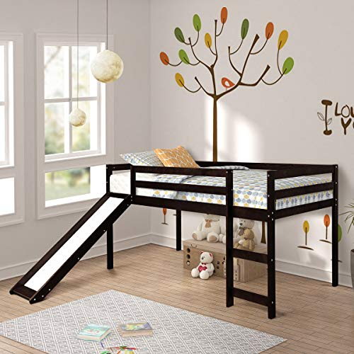 - Twin Loft Bed with Slide for Kids/Toddlers, Wood Low Sturdy Loft Bed, No Box Spring Needed, Espresso