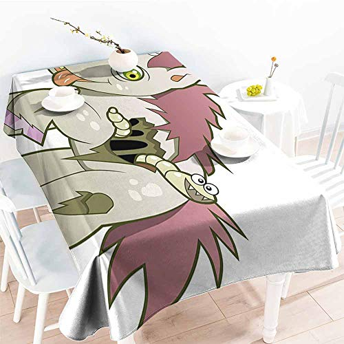 Onefzc Outdoor Tablecloth Rectangular,Zombie Decor Evil Unicorn Devil Face Caterpillar Myth Legend Creature Scary Design,High-end Durable Creative Home,W60x84L Green Dried Rose