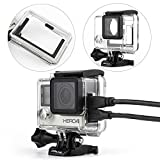 SOONSUN Side Open Skeleton Housing Case with Hollow Backdoor and Lens Cap for GoPro Hero4 Hero3+ Hero 4 3 Silver Black Camera