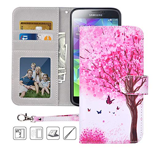 S5 Wallet Case, Galaxy S5 Case, MagicSky Premium PU Leather Flip Folio Case Cover with Wrist Strap,Card Holder, Cash Pocket, Kickstand for Samsung Galaxy S5(Pink - For Cases Galaxy Dollar S5