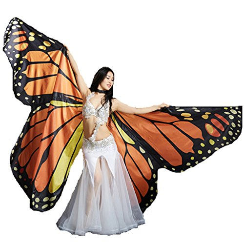 Indian Dance Team Costumes (2018 Girl's Children's Angel Orange Belly Dance ISIS Wings Butterfly ISIS Wings For Halloween(No Sticks))