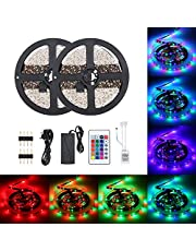 Lilideni 48W 10 Meters 600 LED RGB Strip Light Type 2 with Sensitive IR24 Keys Remote Control Controller Supported Flash/Strobe/Fade/Smooth Lighting Effects/ 16 Static Colors Changing/Brightness A