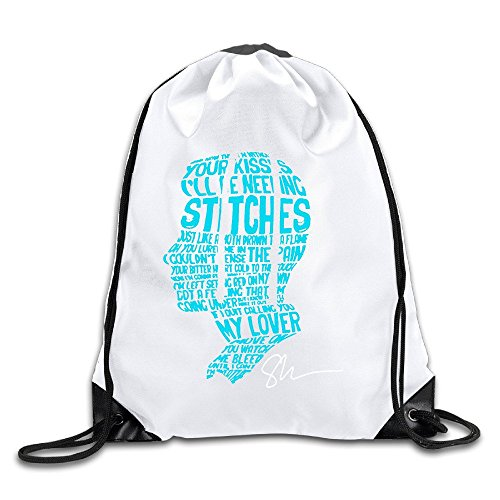 Shawn Mendes Stitches Handwritten Belivee White Drawstring Backpack Sport Bag For Men & Women