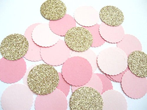 Designs by DH Confetti 100 pieces Paper Scalloped Circles Light Pale Pink Gold Princess Gender Reveal Baby Shower Birthday Wedding Party Decor