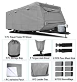 RVMasking Heavy Duty 5 Layers Top Travel Trailer RV Cover, Fits 20' - 22' RVs - Breathable Waterproof Anti-UV Ripstop Camper Cover with 12 PCS Windproof Buckles & Tongue Jack Cover