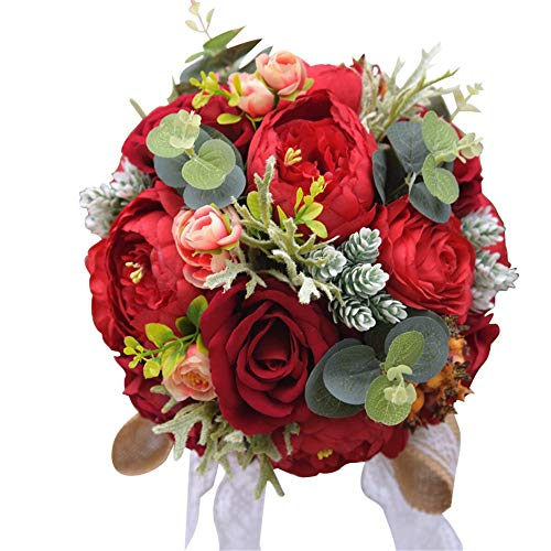Limaomao Holding Flowers Wedding Bouquet Vintage Countryside Style Artificial Mutiple Silky Hand Flower Bride Bridal Bouquet Bridesmaid Wedding Decoration Bouquets Bridesmaid Holding Flowers