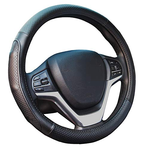 Genuine Leather Steering Wheel Cover 15 Inch All Weather Protection Universal for Auto Car SUV ()