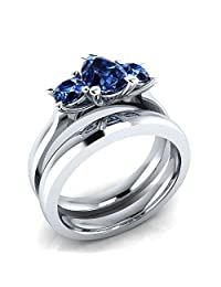 1.03 ct Pear & Round Cut Created Blue Sapphire 925 Sterling Silver Plated Three-Stone Engagement Wedding Ring Set