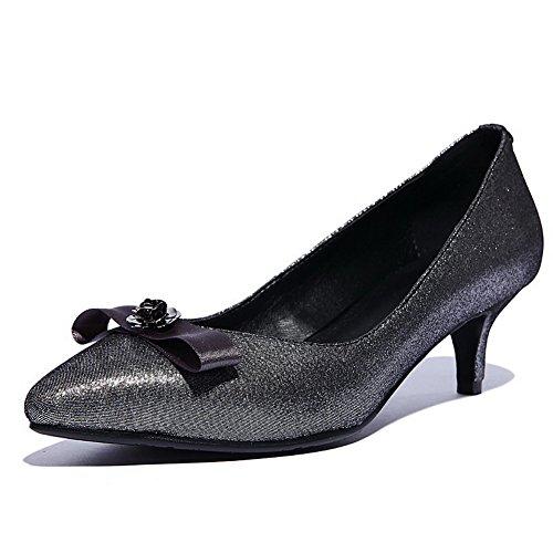 AllhqFashion Mujer Tacón medio Piel de oveja Material suave Puntera Cerrada ZapatosdeTacón Slip-on Gris