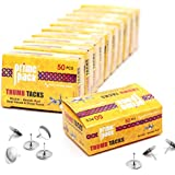 PRIMEPACK Standard Silver Thumb Tacks | Durable Steel Point with Round Flat Head – Great for Bulletin Boards, Poster Hanging, Office and Classroom Use – Multipack Value Box of 500