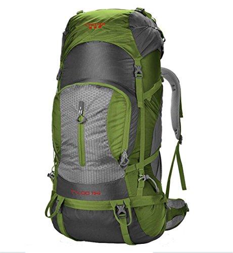bolsa de viaje de escalada al aire libre del bolso de hombro acampar al aire libre mochila de senderismo ( Color : Azul , Tamaño : 75+5L ) Ejercito verde