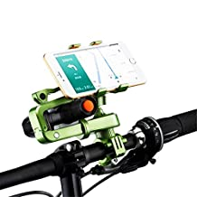 Bike Mount Bicycle Handlebar Phone Holder 360 Degrees Rotatable Universal Smartphone Cradle Clamp adjustable Bracket with Silicone You can install Flashlight GPS (Green)