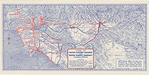 (Historic Pictoric Map | Long Beach, Pacific Electric Railway and Motor Transit Co. 1939 Railroad Cartography | Vintage Poster Art Reproduction | 24in x 12in)