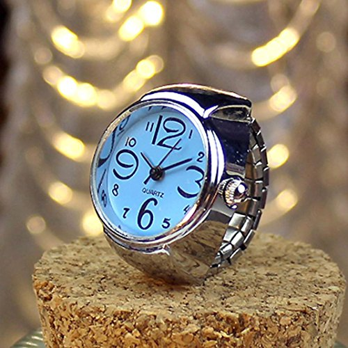 Jaylove Clearance Sale Design Gifts Dial Quartz Analog Watches Steel Cool Elastic Quartz Finger Couple Ring Watch ()