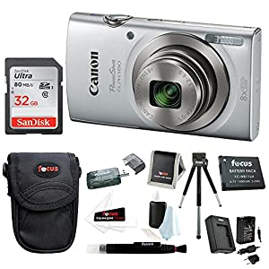 Canon PowerShot ELPH 20 MP Digital Camera (Silver) + Sony 32GB Memory Card + Focus Rechargeable Replacement Lithium Ion Battery + Travel Quick Charger + Focus Medium Point & Shoot Camera Accessory Bundle 180