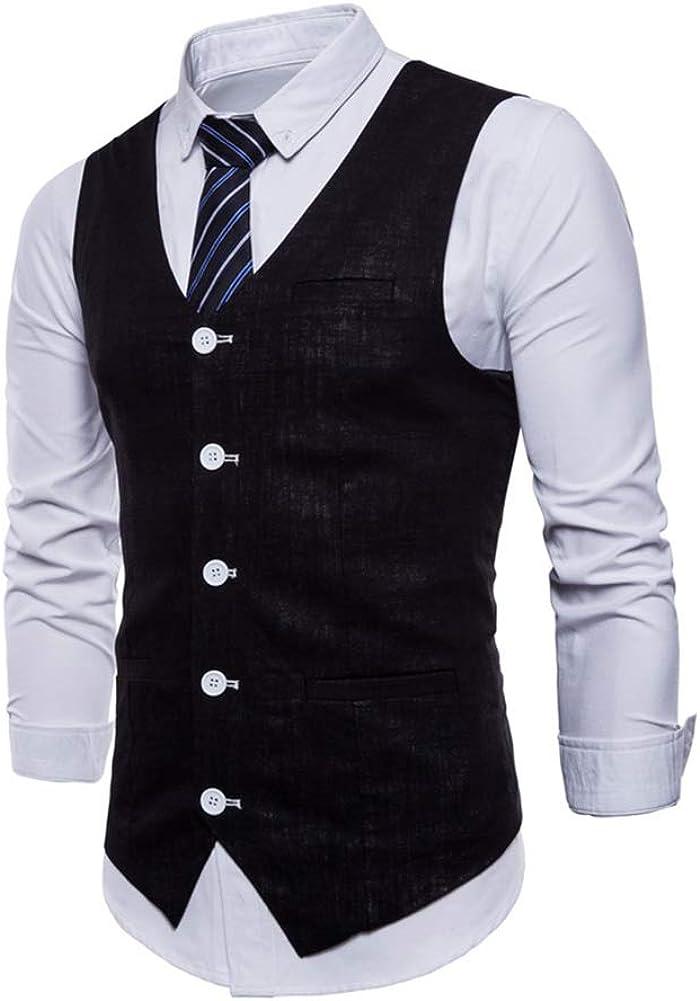 Homme Gilet Costume Veste Slim Fit Business Mariage sans Manches Blouson