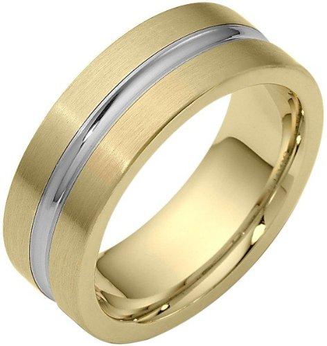 8mm Designer Center Inlay Two-Tone 18 Karat Gold Wedding Band Ring - (8 Mm Designer Center)