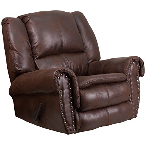 StarSun Depot Contemporary Breathable Comfort Padre Espresso Fabric Rocker Recliner with Brass Accent Nail Trim 41