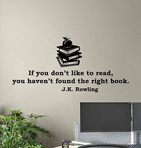 J K Rowling Quotes Wall Vinyl Decal If You Don't Like To Read Book You Haven't Found The Right Book Library Sign Gift Poster Quote Education Wall Art Study Wall Decor Sticker School Sticker Print 887