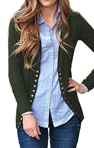SHOPGLAMLA Women's Snap Button Ribbed Detail Neckline Sweater Knit Cardigan Army Green (Ribbed Detail Cardigan)