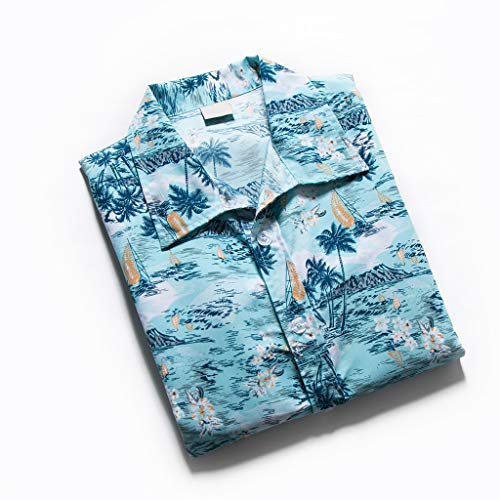 NUWFOR Men Hawaiian Print Short T-Shirt Sports Beach Quick Dry Blouse Top Blouse(Blue,XL US Chest:45.3'' by NUWFOR (Image #5)
