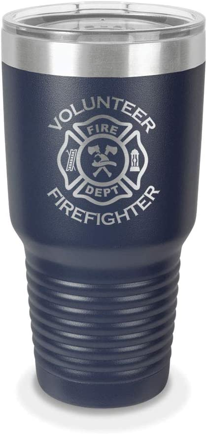 Firefighter Maltese Cross Personalized Engraved Insulated Stainless Steel 20 oz Tumbler