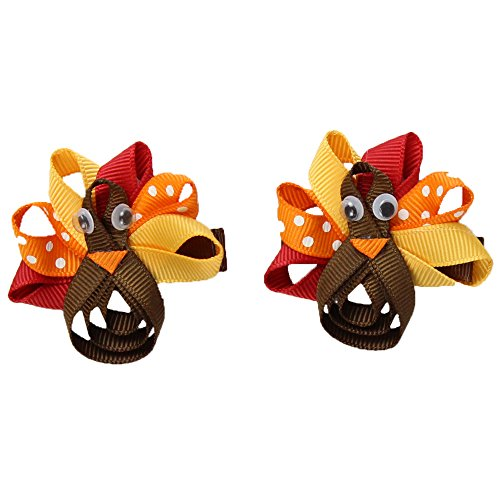 juDanzy Holiday Hair Clips & Bows in Halloween, Thanksgiving & Christmas themes for baby, toddler & Girls (Turkey Clips)
