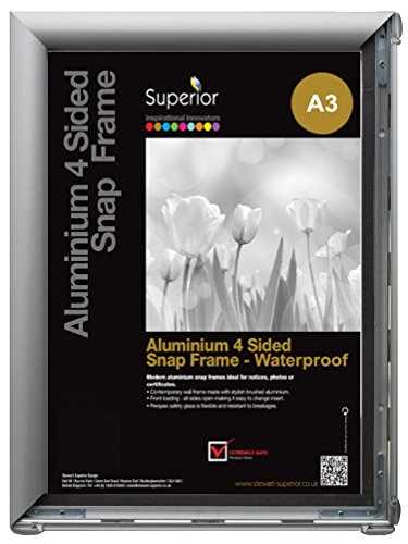 (Seco A3 Waterproof Aluminium 4 Sided Snap Frame with Perspex Safety Glass -)