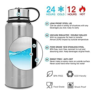 50 oz, 37 oz, 27 oz, 21 oz Stainless Steel Vacuum Insulated Water Bottle, Wide Mouth with Leak Proof Cap and Built-in Filter (Original Stainless Steel, 21oz)